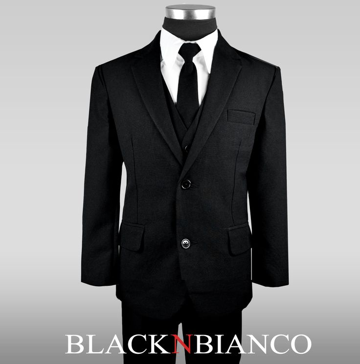 Boys Black Suit with a Long Skinny Tie