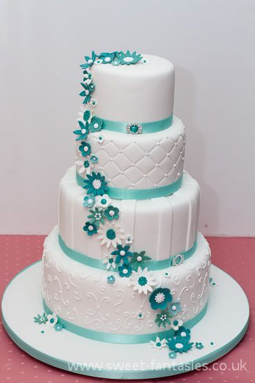 4 Tier White & Tiffany Blue wedding cake,  by sweet fantasies