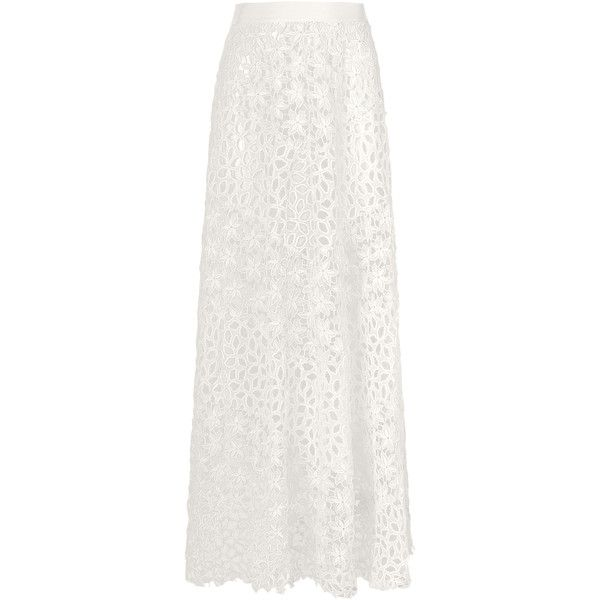 Lolitta Louise Guipire Long Skirt ($2,475) ❤ liked on Polyvore featuring skirts, white, white maxi skirt, white skirt, a line maxi skirt, white high waisted skirt and a-line skirt