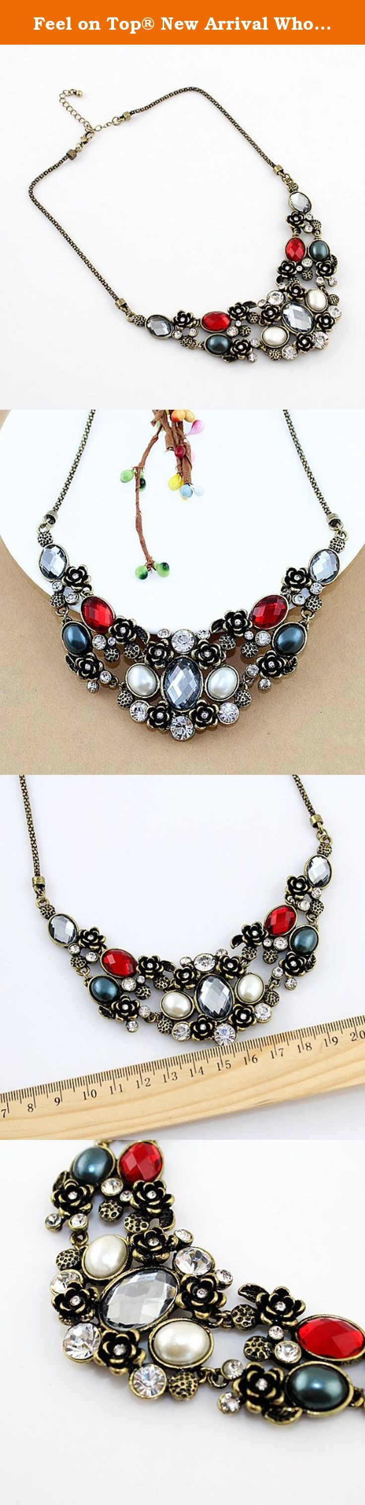 Feel on Top® New Arrival Wholesale Costume Jewelry Vintage Graceful Rhinestone Statement Necklace with Free Jewelry Pouch. New arrival charming vintage graceful crystal necklace and free shipping.