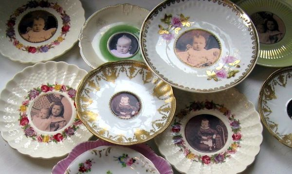 Use old plates as frames and hang on the wall!