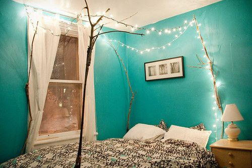 Aqua: Idea, White Lights, Fairies Lights, Wall Color, Christmas Lights, String Lights, Trees Branches, Beds Frames, Canopies Beds