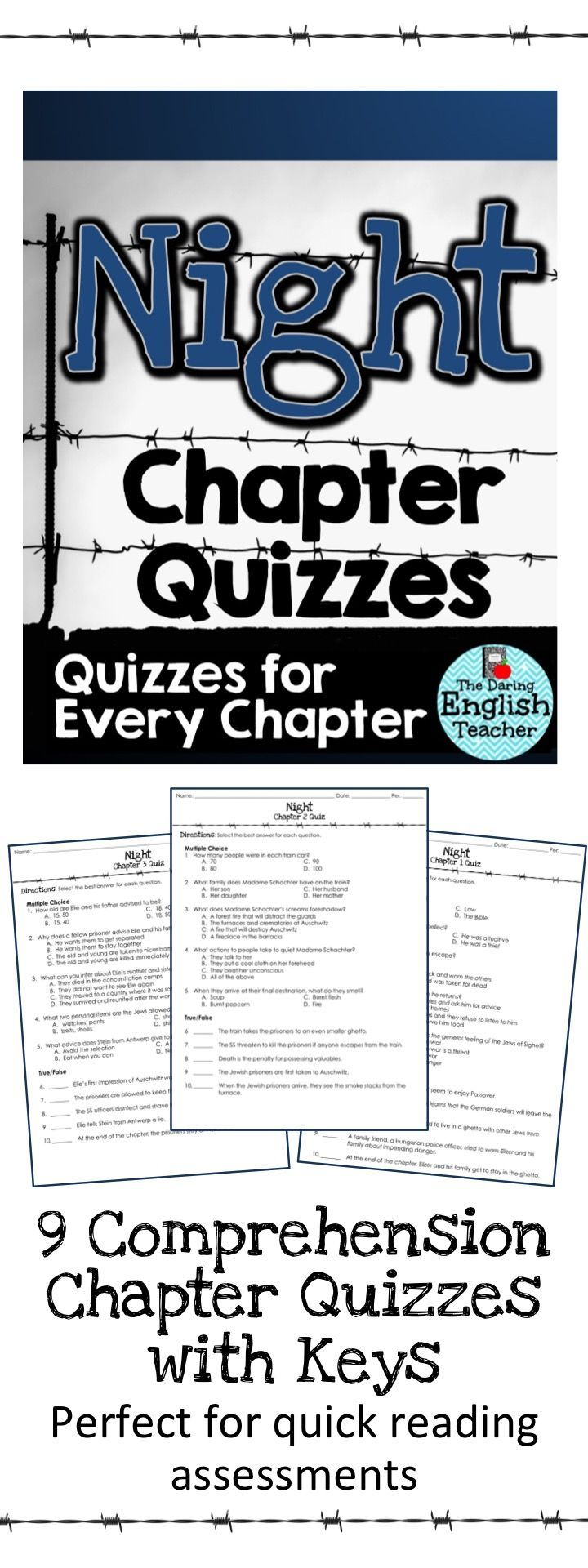Night chapter quizzes high school reading book study