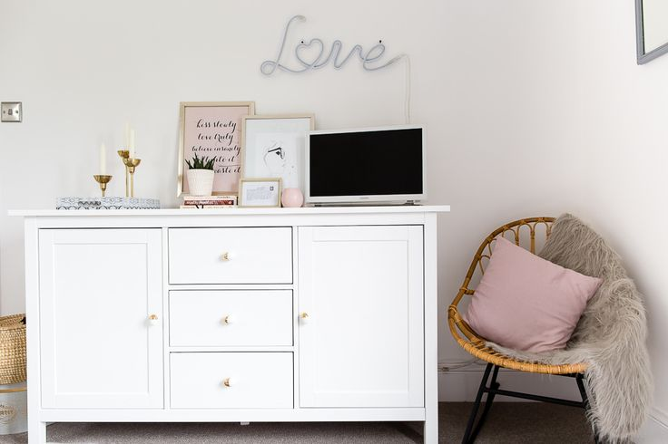 Ikea Hemnes Sideboard | Grey and white bedroom with blush and warm metallic accents | http://rockmystyle.co.uk/laurens-bedroom-reveal/