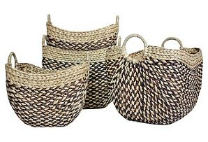 S/4 2-Toned Natural Baskets