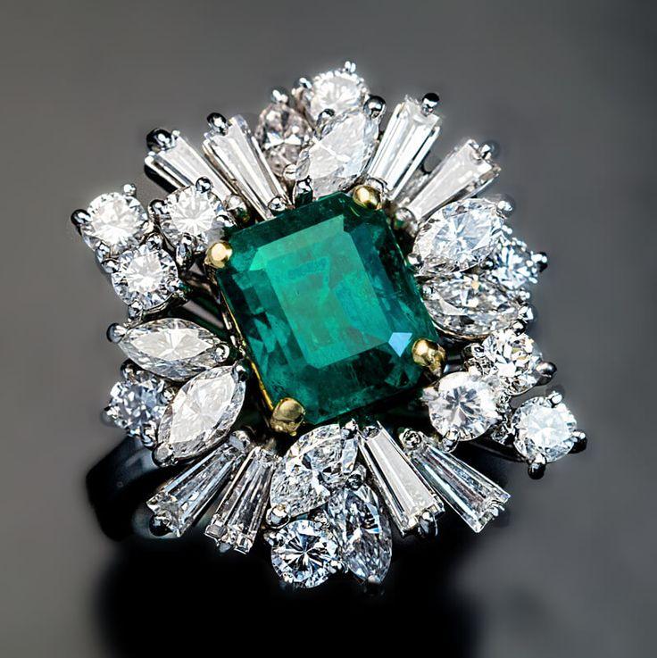 Vintage Asymmetrical Design Emerald Diamond Engagement Ring - Antique Jewelry | Vintage Rings | Faberge Eggs