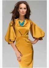 Европейский и американский леди золотой воротник закрыт фонарь рукав платье в талии, Развивать нравственность платье(China (Mainland))
