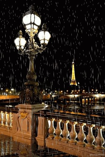 Paris on a rainy night - Eiffel Tower in background