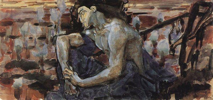 Мир Врубеля. Демон сидящий, 1890. Эскиз.
