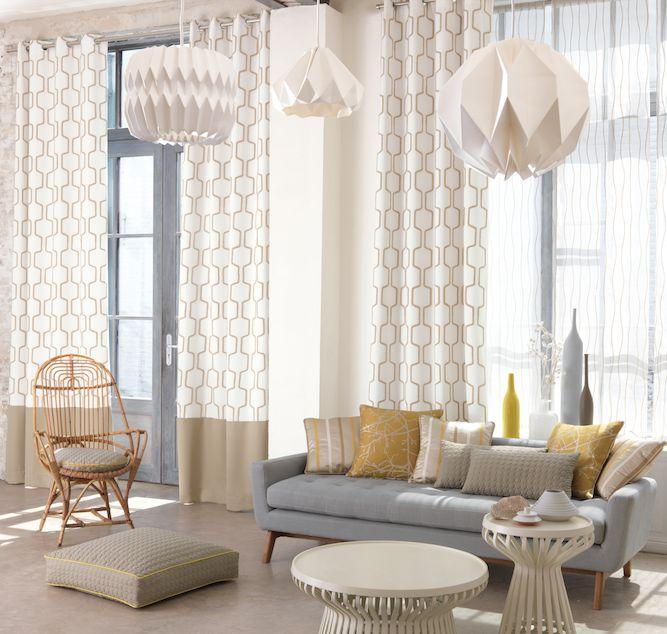 Collection STOCKHOLM. Influences scandinaves, design, épuré, calmes, naturel, rideaux, ocre, beige