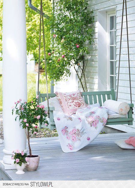 country farmhouse porch...I love porch swings!