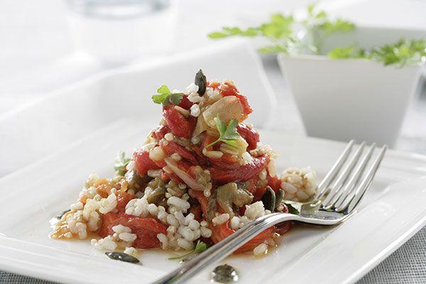 Cocina una escalivada con arroz integral con quinoa. Un plato completo y muy fácil.