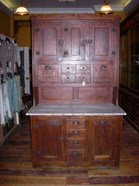 French Cherry Bakeru0027s Cabinet Zinc Counter.
