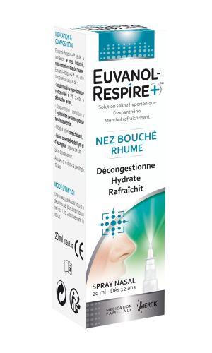 Spray Nasal utilisé dans le traitement passagé du nez bouché et du rhume grâce à ses composants, EUVANOL RESPIRE+ aide à déboucher le nez, hydrater la muqueuse nasale asséchée et de rafraîchir le nez. Pour Adultes et Enfants à partir de 12 ans.