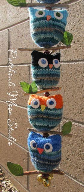 Cute idea using the free owl puffs pattern. patchouli-moon-studio.blogspot.com