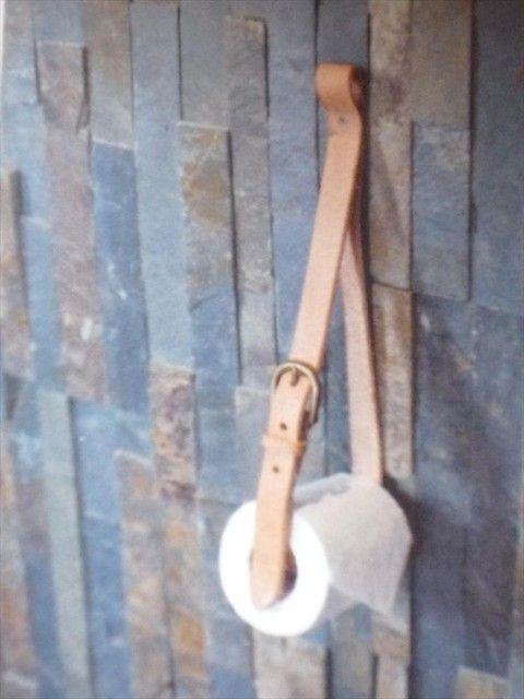 DIY leather belt toiletpaper holder.