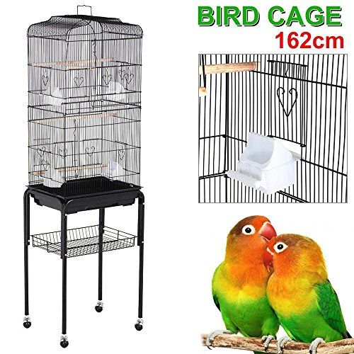 """Yaheetech 63"""" Rolling Bird Cage Parrot Finch Aviary Pet Perch w/Stand Black - http://www.bunnybits.org/yaheetech-63-rolling-bird-cage-parrot-finch-aviary-pet-perch-wstand-black/"""