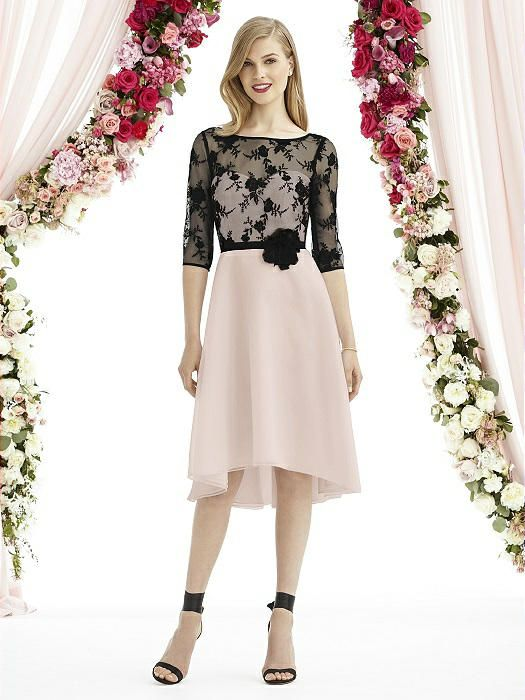In this exquisite dress you will feel so feminine. Featuring lovely embroided lace overlay with 3/4 length sleeves, a deep V-back and a sweetheart strapless bodice. Grosgrain ribbon flower belt accentuates the cinched in waist. The modified circle skirt with a slight high-low hemline adds some modernity to complete the look.