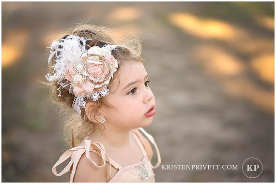 Vintage Deluxe Ivory Cream, Blush Pink And Tan Handmade Rolle Rosette Flower Headband, Feathers, Silk Bow, Pearls, Crystals
