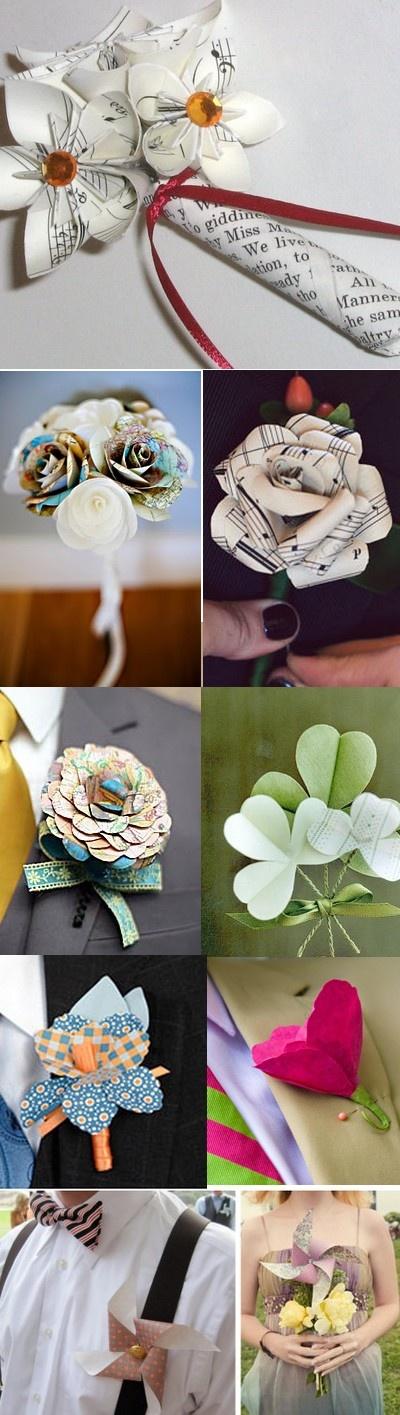 Boutonnière fleurs en partition de musique