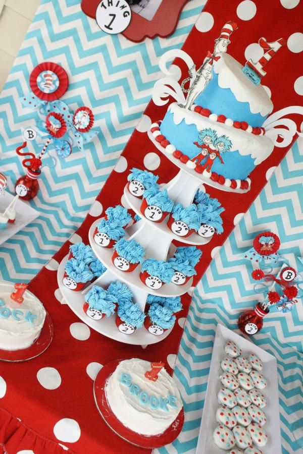 Thing One Thing Two Dr Seuss Twins 1st Birthday Party
