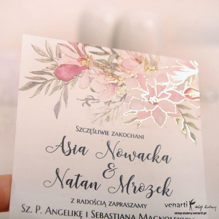 Zaproszenia ślubne złocone kwiatowe Magnolia (Kod: KP065) Zaproszenia papierowe Zaproszenia ślubne -Venarti - Sklep ślubny