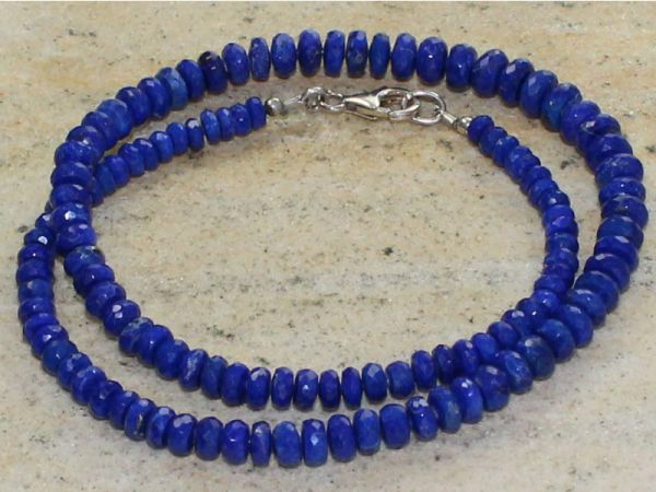 budawi® - Lapislazuli Kette 44 cm facettiert mit 925er Silberverschluss, Lapis-lazuli Edelsteinkette - Edelsteinketten Halsketten - Edelsteinschmuck - Einklang