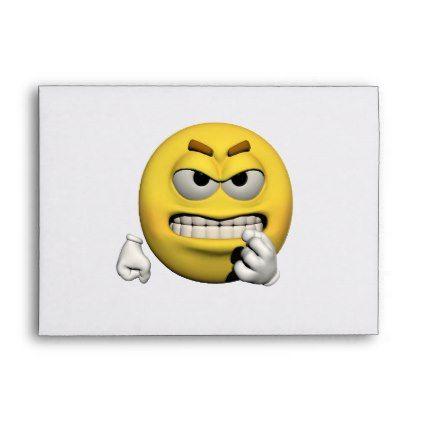 Yellow angry emoticon or smiley envelope envelopes custom unique diy cyo personalize idea envelope