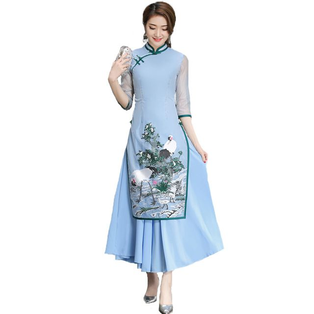 Chinese Style Elegant Cheongsam Women Cotton Linen Loose Blue Pink Mesh Half Sleeve Dress Crane Printing Plus Size 2017 Summer