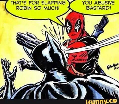 Go Deadpool!! Wait fuck do I pin this to my Deadpool board or my Batman board ? Fuck it I'm pining it on both !
