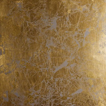 """Broken gold leaf """"Shabin"""" is beautifully complimented when it is applied over luscious limestone (venetian) plaster. Seen here coupled with a mid-tone gray, it is stunning. It is equally at home on an accent wall, a formal ceiling, or in an entire room. For a wide array of effects, our Shabins can be applied over custom color plaster. by www.superstratausa.com #interiordesign #decor"""