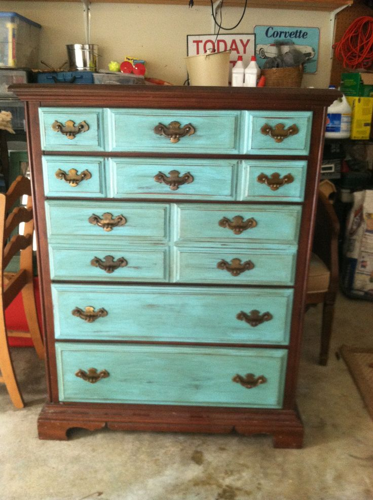 Old Dresser Chalk Painted The Drawers Only Chalk