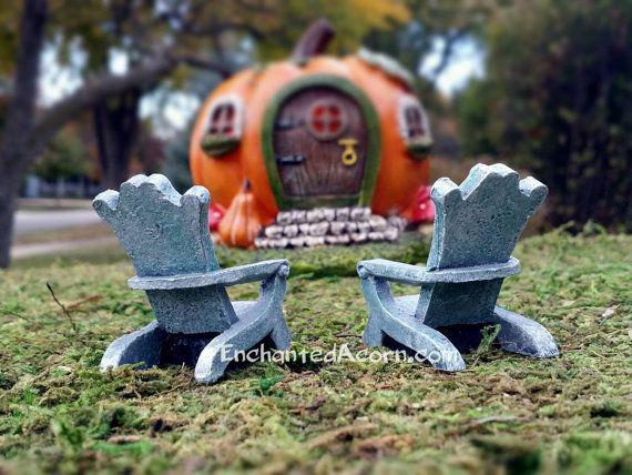 TINY Fairy Garden Halloween R.I.P. Adirondack Chairs – Set of 2 Halloween Fairy Garden Accessories Fairy Furniture – Enchanted Acorn Products