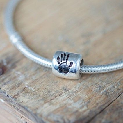 Handprint Charm Bead. Beautiful addition to your (Pandora, Lovelinks, Troll, Chamilia) charm bracelet.