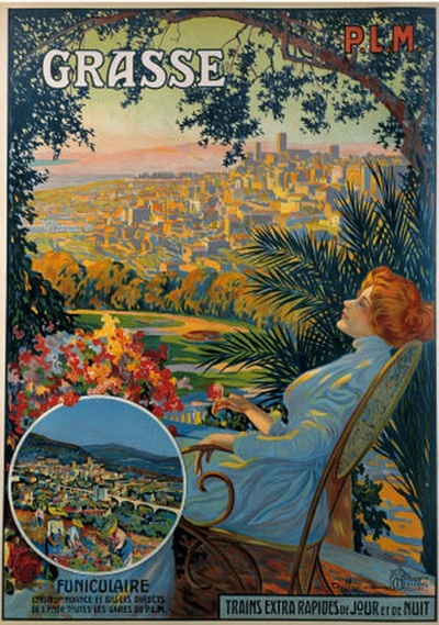 Grassa in classical norm (and Italian) or Grasso is a commune in the Alpes-Maritimes department on the French Riviera and it's vintage travel poster