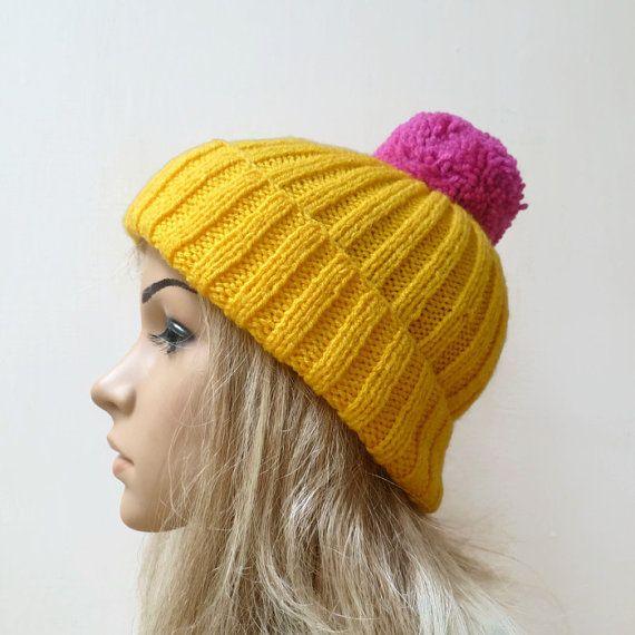Yellow Pink Pom Pom Hat Womens Hand Knit Bobble by Clickclackknits #promotingwomen
