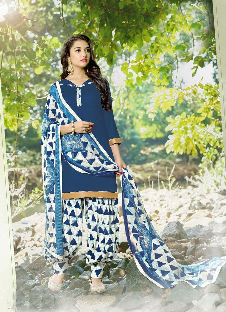 #Navy #Blue #Cotton #Printed #Patiala #Salwar Suit #printed #printedsalwarkameez #dress #sale #Salwar #Suit #nikvik #usa #designer #australia #canada