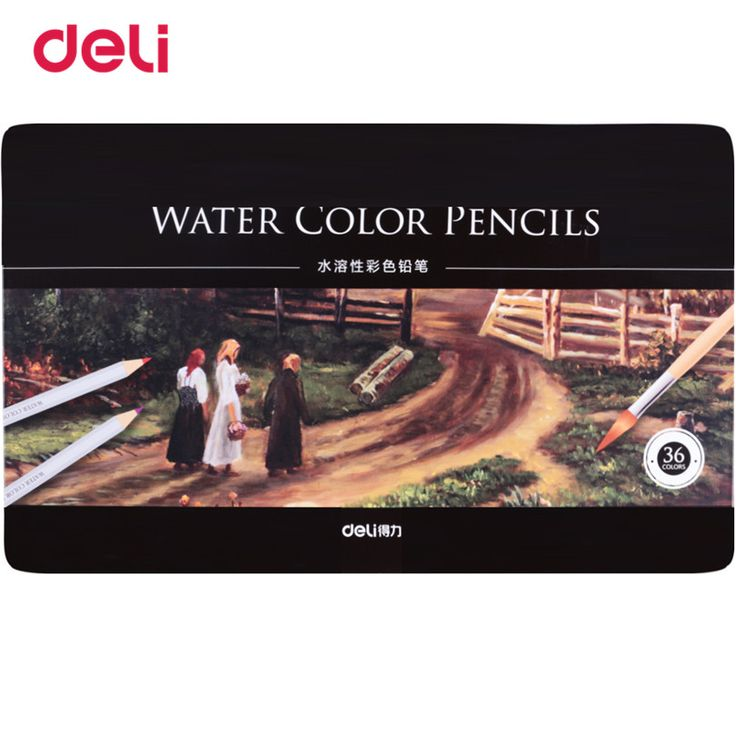 Deli 36 colors a pack water color pencil with box student pencils painting colorful watercolor pen student supplies painting