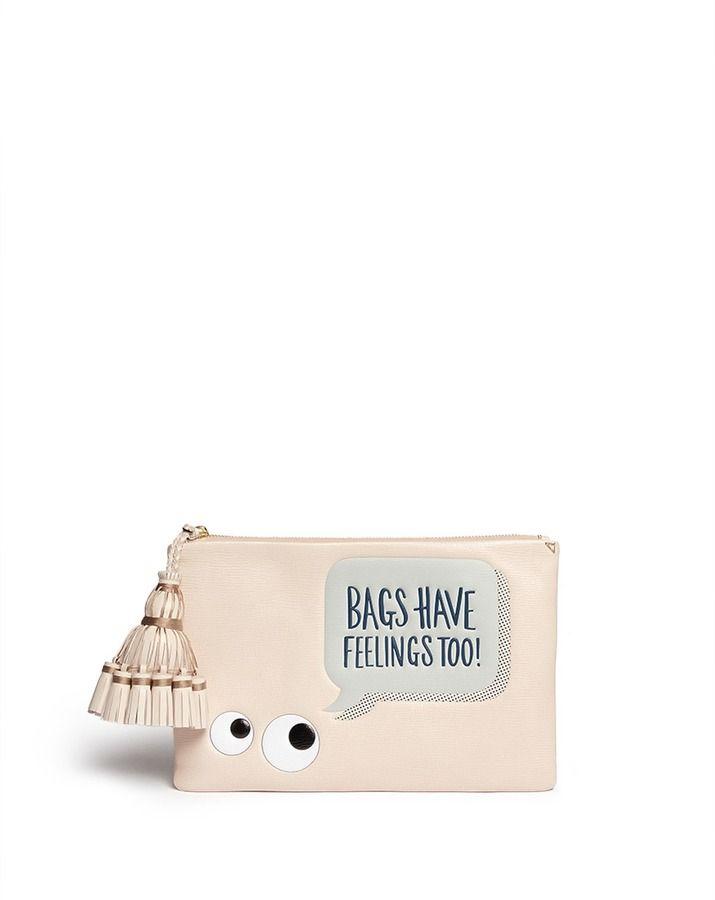 ANYA HINDMARCH 'Georgiana Bags Have Feelings Too!' capra leather clutch