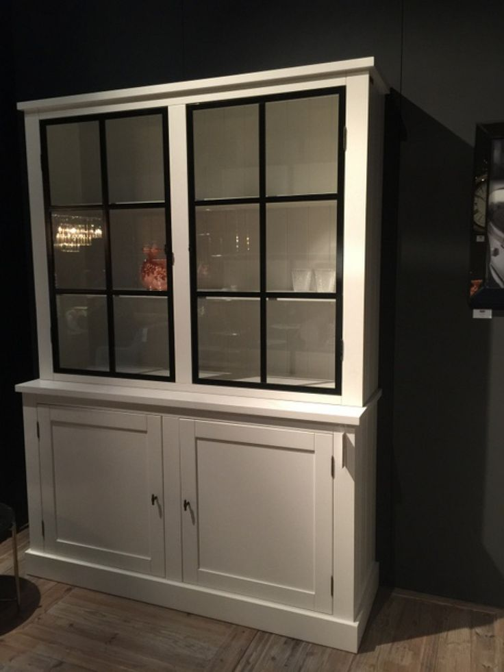 Vitrine weiß Massivholz, Geschirrschrank weiß Landhaus, Breite 160 cm - Vitrinen & Geschirrschränke - Landhaus Style - Möbel