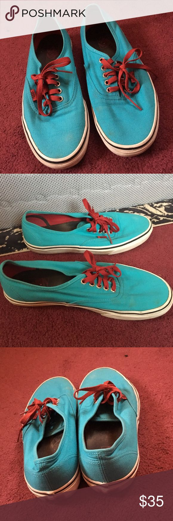 Gently worn teal blue vans Gently worn teal Vans Authentic with red laces. Lightly worn but still have a ton of life in them! Vans Shoes Sneakers