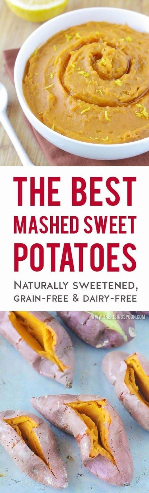 This is the best method for fixing mashed sweet potatoes! It brings out the potato's natural sweetness with hardly any work. You'll be tempted to eat it with a sprinkle of sea salt (yes, it's that good!), but it's even better with fresh orange zest, a bit of maple syrup & warm spices. Fix this healthy side dish recipe all year long when you're craving easy comfort food. | real food recipes | dairy-free | gluten-free | grain-free | vegan | Thanksgiving recipes | holiday recipes |