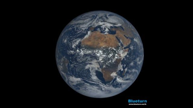 This is a video of the Whole Earth as seen from the Lagrangian point L1, one million miles away. These images have been captured on June 1st by the NASA/DSCOVR mission and put into motion by our Blueturn technology. Accelarated 300 times (1s = 5min). Music credits - Moby - LA1 More on us : http://www.blueturn.earth Follow us : http://www.facebook.com/blueturn.earth
