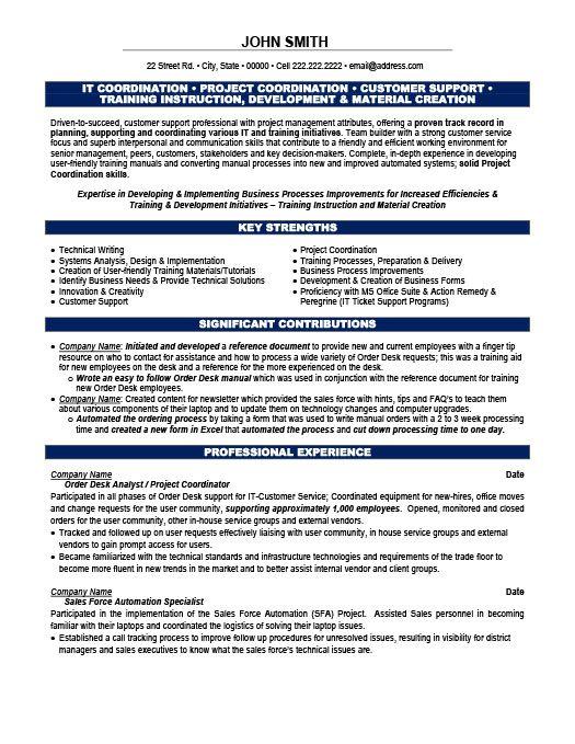 Project Coordinator Resume Template | Premium Resume Samples & Example