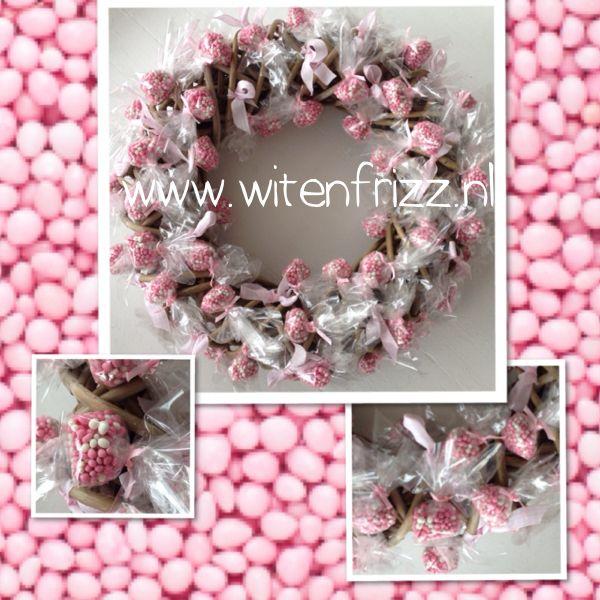 Geboorte krans roze