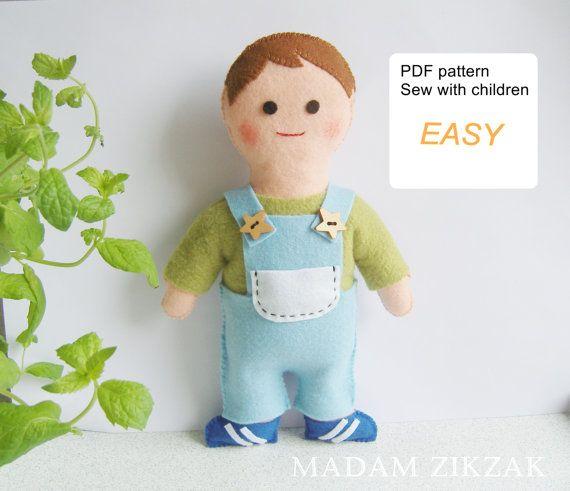 Boy Toys Template : Best felt small dolls images on pinterest fabric