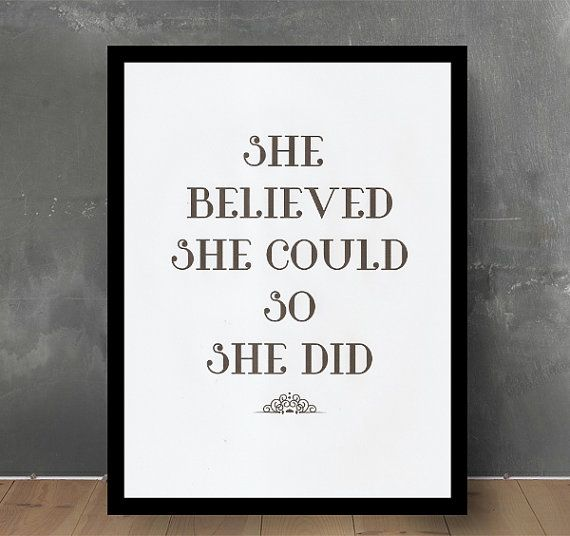 Typographic Print -She Believed She Could - Poster Print - girls - gift  - Wall Decor - Quote Typography - Inspirational Quote -Art Print