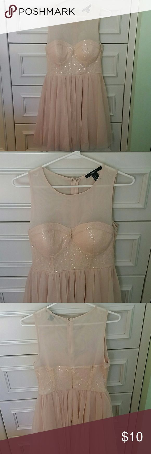 f21 sequined dress light pinkbeige dress mesh top with sequined bust padded