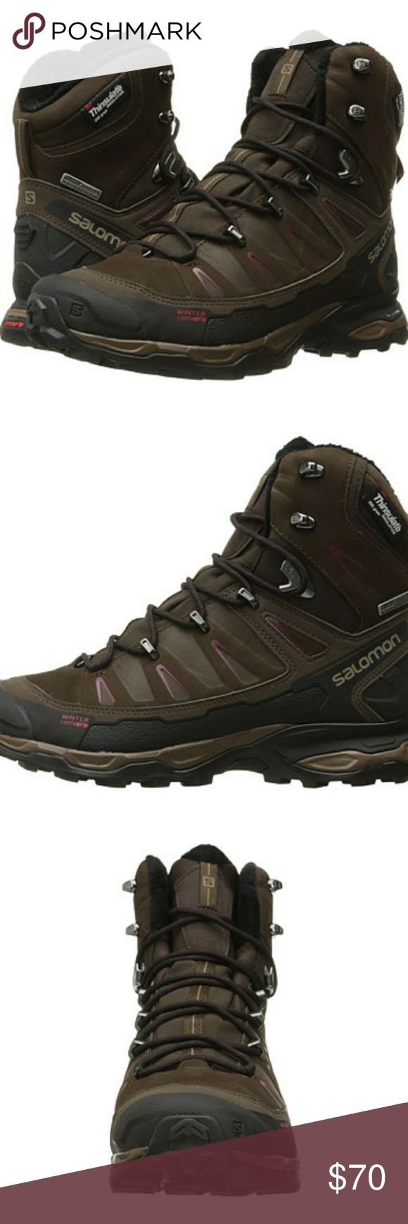 Salomon Women's X Ultra Winter Boot Battle the winter elements like a pro in the ruggedly built Salomon X Ultra Winter hiking boot.  Climashield™ waterproof membrane keeps the elements out.  200 g Thinsulate™ multi-loft insulation adapts for specific uses and different conditions.  Waterproof leather and nubuck leather uppers.  Brand new in box, Absolute Brown size 8 Salomon Shoes
