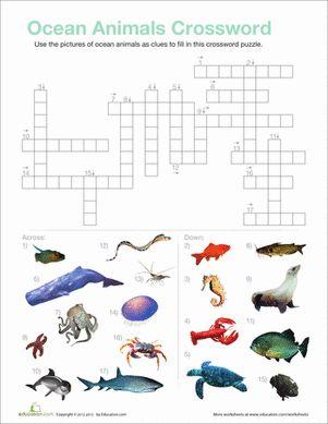 ocean animals crossword kids projects worksheets ocean